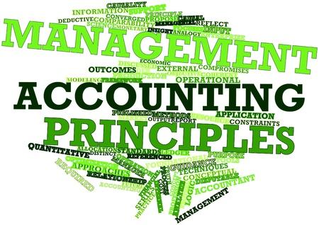 analog�a: Nube de la palabra abstracta de los principios de contabilidad de gesti�n con las etiquetas y t�rminos relacionados