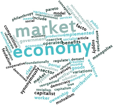 Abstract word cloud for Market economy with related tags and terms