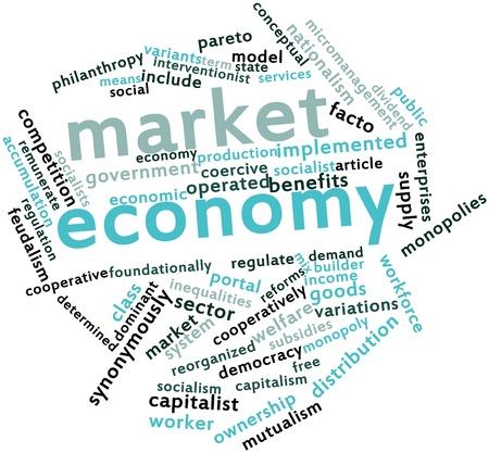 monopolio: Nube palabra abstracta para la econom�a de mercado con etiquetas y t�rminos relacionados