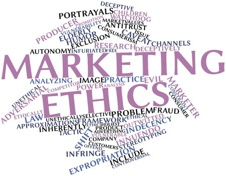 deceptive: Abstract word cloud for Marketing ethics with related tags and terms Stock Photo