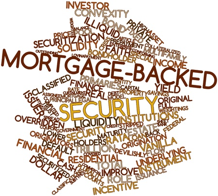 issuer: Abstract word cloud for Mortgage-backed security with related tags and terms Stock Photo