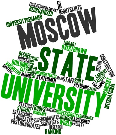 launched: Abstract word cloud for Moscow State University with related tags and terms Stock Photo