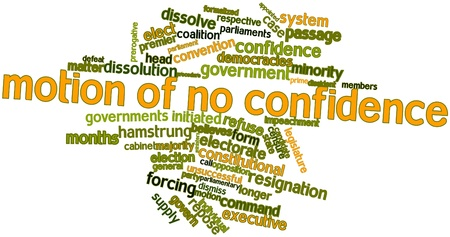 resign: Abstract word cloud for Motion of no confidence with related tags and terms Stock Photo
