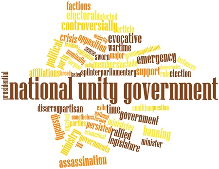 wartime: Abstract word cloud for National unity government with related tags and terms