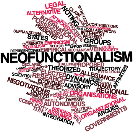 predicted: Abstract word cloud for Neofunctionalism with related tags and terms Stock Photo