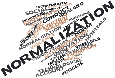 Abstract word cloud for Normalization with related tags and terms Stock Photo - 16467884