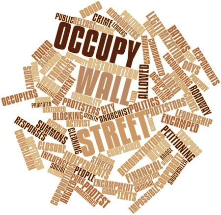 voters: Abstract word cloud for Occupy Wall Street with related tags and terms