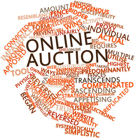 endogenous: Abstract word cloud for Online auction with related tags and terms Stock Photo