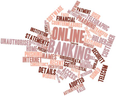security token: Abstract word cloud for Online banking with related tags and terms