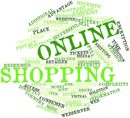 countermeasures: Abstract word cloud for Online shopping with related tags and terms