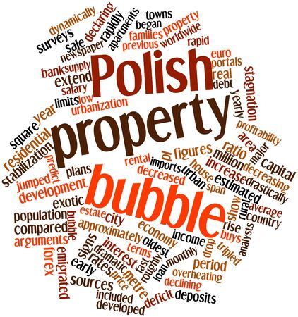 approximately: Abstract word cloud for Polish property bubble with related tags and terms Stock Photo