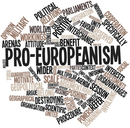disadvantages: Abstract word cloud for Pro-Europeanism with related tags and terms Stock Photo