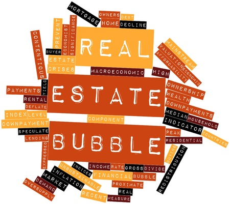 Abstract word cloud for Real estate bubble with related tags and terms photo