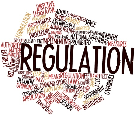 regulation: Abstract word cloud for Regulation with related tags and terms Stock Photo