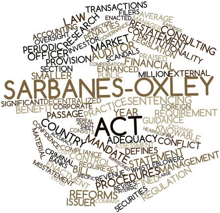 adequacy: Abstract word cloud for Sarbanes-Oxley Act with related tags and terms Stock Photo