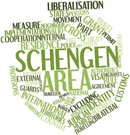 schengen: Abstract word cloud for Schengen Area with related tags and terms Stock Photo
