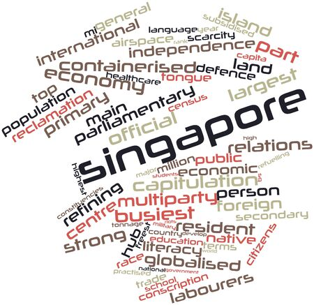 detachment: Abstract word cloud for Singapore with related tags and terms