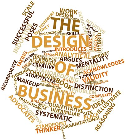 introduces: Abstract word cloud for The Design of Business with related tags and terms Stock Photo