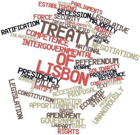 verdrag: Abstract woordwolk voor Verdrag van Lissabon met gerelateerde tags en voorwaarden Stockfoto