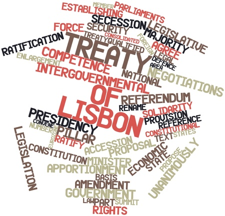 Abstract word cloud for Treaty of Lisbon with related tags and terms Stock Photo - 16467997