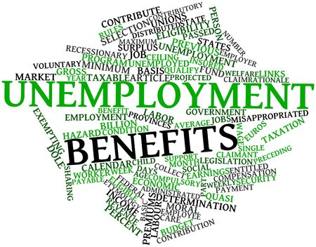 taxable: Abstract word cloud for Unemployment benefits with related tags and terms