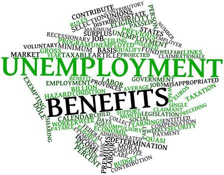 seguridad laboral: Nube de palabras Resumen de beneficios por desempleo con las etiquetas y términos relacionados