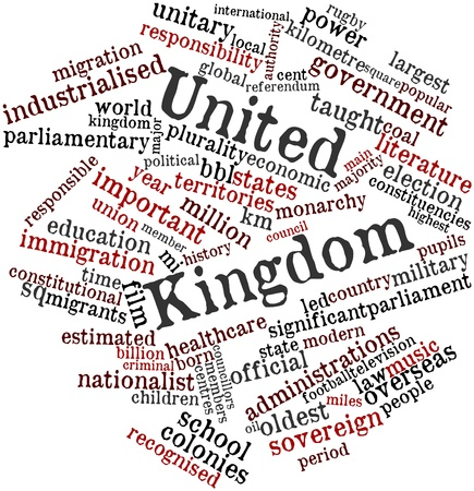 kilometre: Abstract word cloud for United Kingdom with related tags and terms Stock Photo