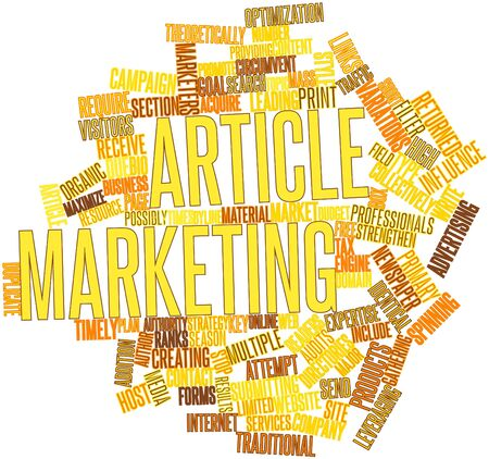 returned: Abstract word cloud for Article marketing with related tags and terms Stock Photo