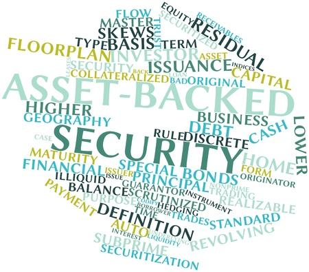 関連するタグと用語の資産担保の抽象的な単語雲