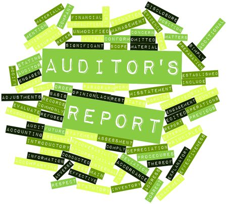 misstatement: Abstract word cloud for Auditors report with related tags and terms Stock Photo
