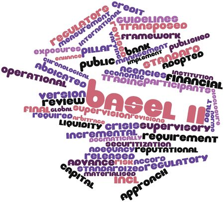 standardised: Abstract word cloud for Basel II with related tags and terms Stock Photo