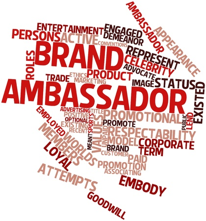 brand: Abstract word cloud for Brand ambassador with related tags and terms