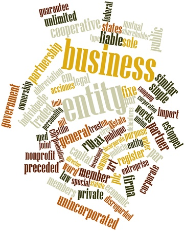 med: Abstract word cloud for Business entity with related tags and terms Stock Photo