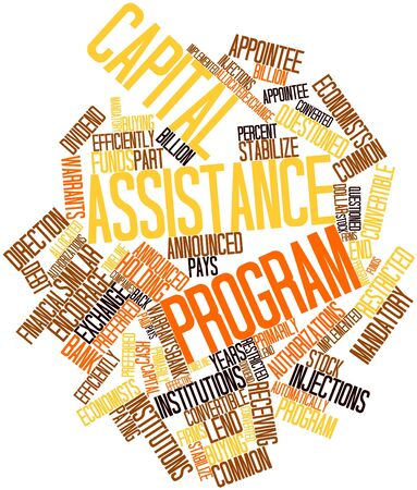 financial institutions: Abstract word cloud for Capital Assistance Program with related tags and terms