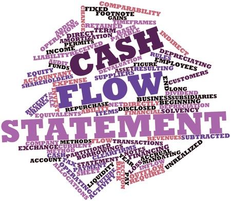 flujo de dinero: Nube palabra abstracta para la declaraci�n de flujos de efectivo con las etiquetas y t�rminos relacionados