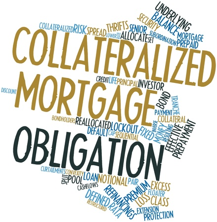 obligation: Abstract word cloud for Collateralized mortgage obligation with related tags and terms Stock Photo