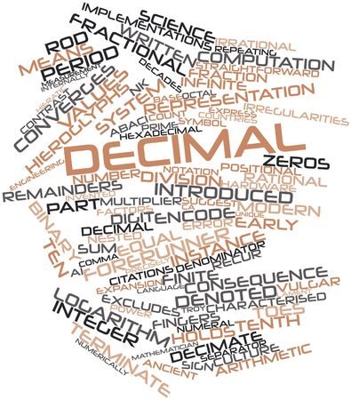 characterised: Abstract word cloud for Decimal with related tags and terms