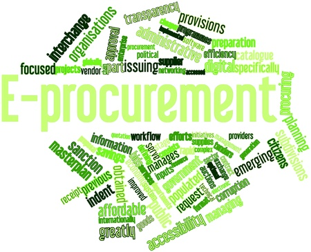 vendors: Abstract word cloud for E-procurement with related tags and terms