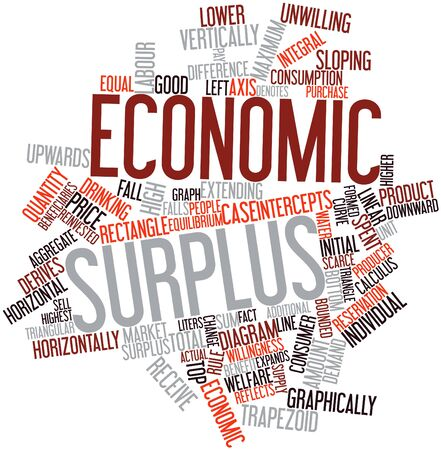 Abstract word cloud for Economic surplus with related tags and terms Stock Photo - 16468055