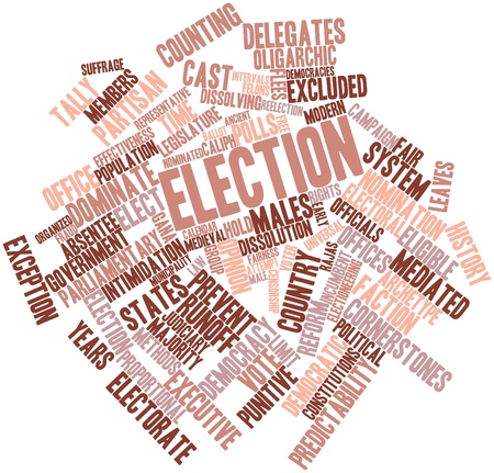 democracies: Abstract word cloud for Election with related tags and terms