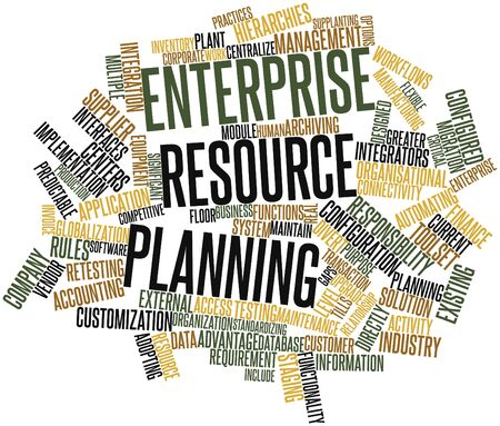 Abstract word cloud for Enterprise resource planning with related tags and terms photo