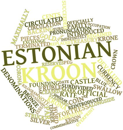 subdivided: Abstract word cloud for Estonian kroon with related tags and terms