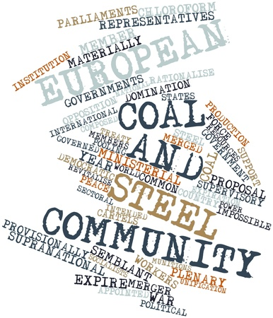 sectoral: Abstract word cloud for European Coal and Steel Community with related tags and terms Stock Photo