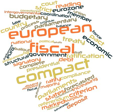 fiscal: Abstract word cloud for European Fiscal Compact with related tags and terms