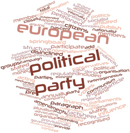 Abstract word cloud for European political party with related tags and terms