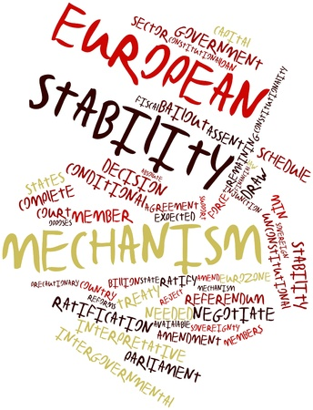 stability: Abstract word cloud for European Stability Mechanism with related tags and terms Stock Photo