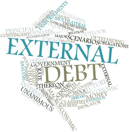 Abstract word cloud for External debt with related tags and terms photo