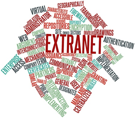 specifications: Abstract word cloud for Extranet with related tags and terms Stock Photo