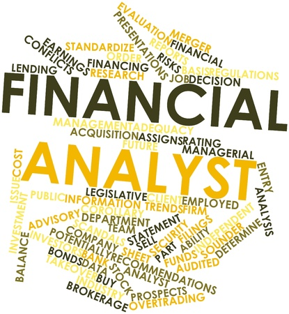 filings: Abstract word cloud for Financial analyst with related tags and terms