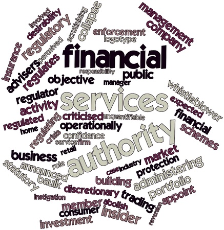 regulating: Abstract word cloud for Financial Services Authority with related tags and terms Stock Photo